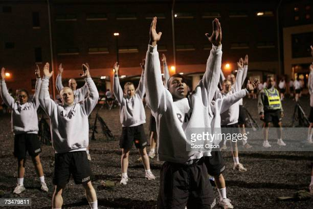 Soldiers do physical training before sunrise during Army basic training at Fort Jackson March 1 2007 in Columbia South Carolina In 2006 the Army...