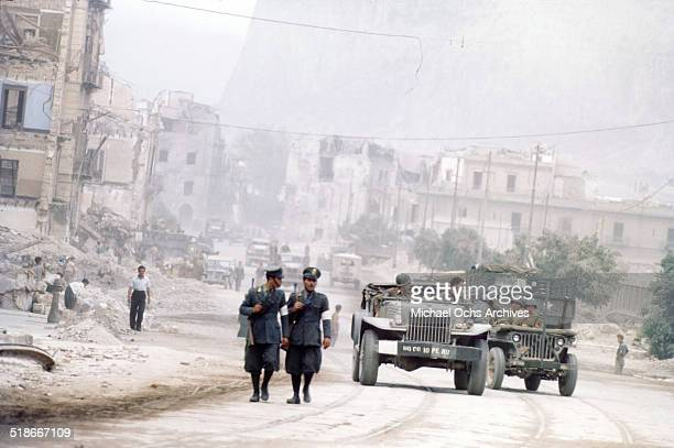 US soldiers drive in the streets after Allied Invasion called 'Operation Husky' in Palermo Sicily Italy