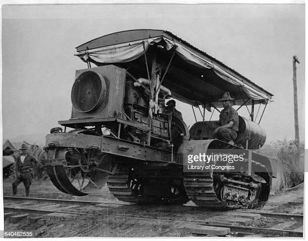 Soldiers driving a Holt caterpillar tractor in the US Army camp during the United States Army Punitive Expedition to Mexico in search of...