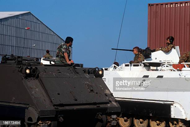 Soldiers driving two Italian Army tanks Italian US and French troops recently left the Lebanese territory after the international intervention due to...