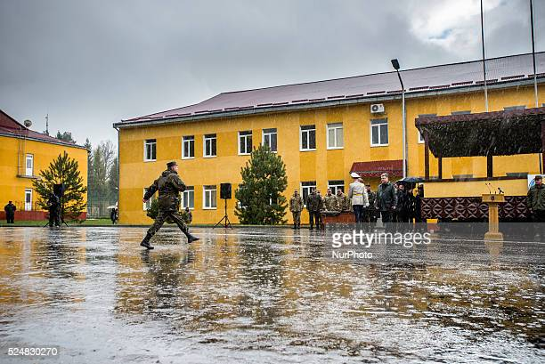 US soldiers during opening ceremony UkrainianUS Exercise Fearless Guardian at International peacekeeping and security centre on April 20 2015 in...