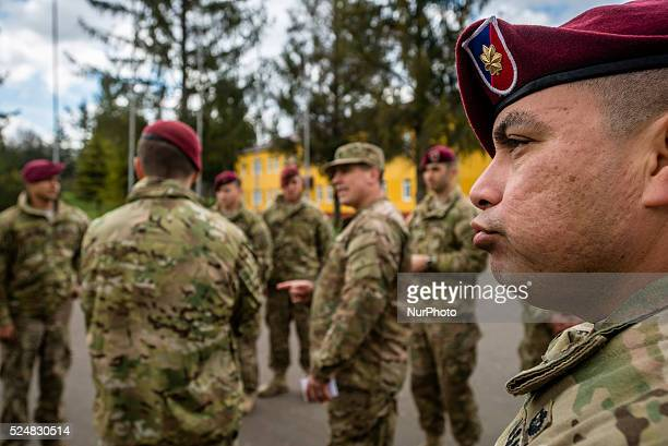 US soldiers during opening ceremony UkrainianUS Exercise Fearless Guardian at International peacekeeping and security centre Yavoriv Lviv region...