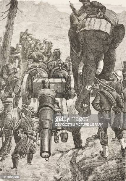 Soldiers en route to Ali Musjid Pakistan Second AngloAfghan War engraving by Canedi from L'Illustrazione Italiana Year 6 No 2 January 12 1879
