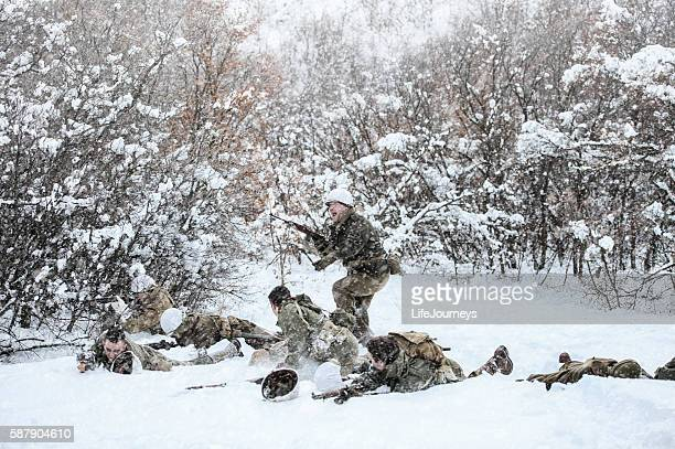 WWII Soldiers Engaged In Battle