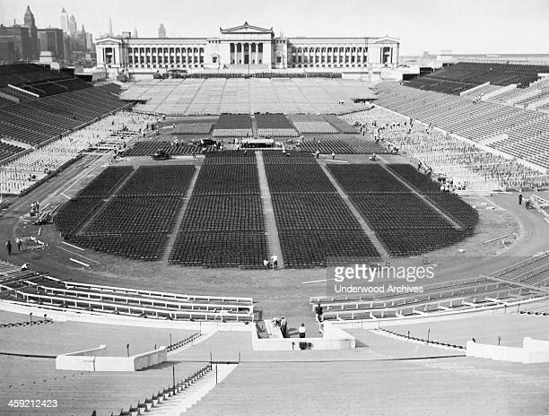 Soldier's Field with the Field Museum in the background, Chicago, Illinois, September 17, 1927. The boxing ring for the Gene Tunney and Jack Dempsey...