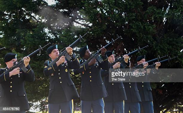 Soldiers fire a 21gun salute during a wreathlaying ceremony at Fort Jackson on Monday Sept 1 to honor the veterans of the Battle of the Bulge during...
