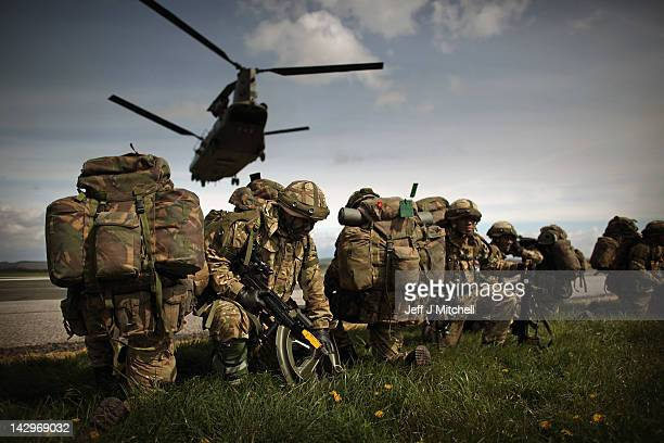 Soldiers from 16 Air Assault Brigade take part in Exercise Joint Warrior at West Freugh Airfield on April 16 2012 in Starnraer Scotland The operation...