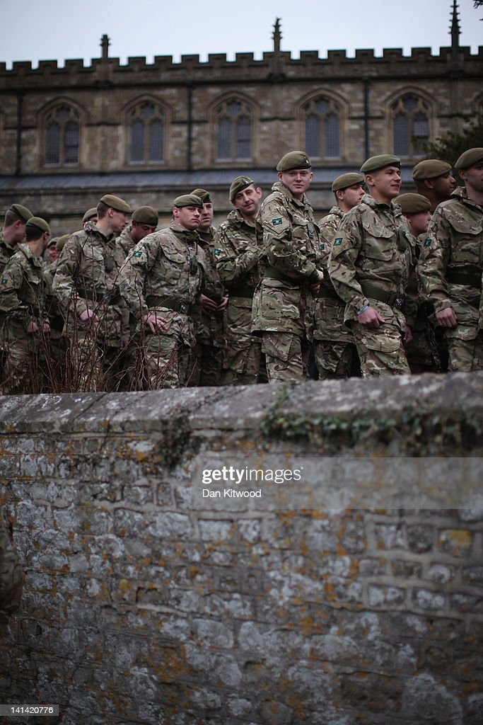 Soldiers from 3rd Battalion the Yorkshire Regiment leave The Minster Church of St Denys after a service on March 16, 2012 in Warminster, England. The regiment earlier held a parade through Warminster Town centre which was the last of the units public appearance before being deployed to Afghanistan.