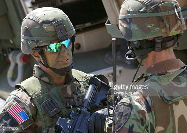 Soldiers from 3rd brigade 2nd Infantry Division, Stryker Battalion Combat Team from Fort Lewis, Washington participate in Reception, Staging, Onward...