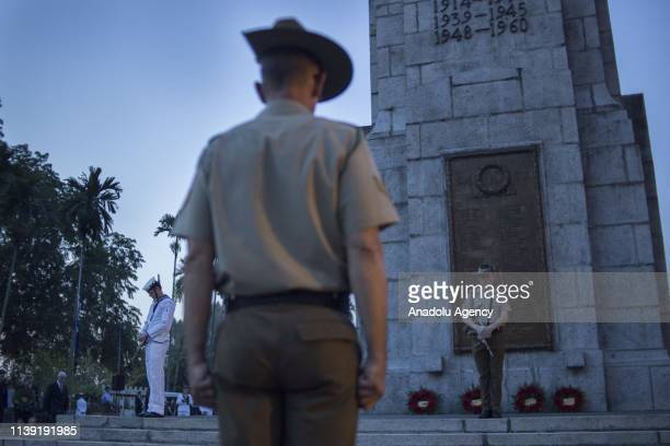 Soldiers from Australia and New Zealand stand honour guard during the ANZAC Day Dawn Service in commemoration of the 104th anniversary of the ANZAC...