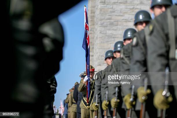 Soldiers from Australian and New Zealander units attend a ceremony at Canakkale Martyrs' Memorial in Gallipoli Peninsula marking the 103rd...