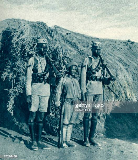 Soldiers from British East Africa during World War 1 1916 Middle soldier of 2nd Kashmir Rifles Indian Imperial Service Corps operating in Africa...