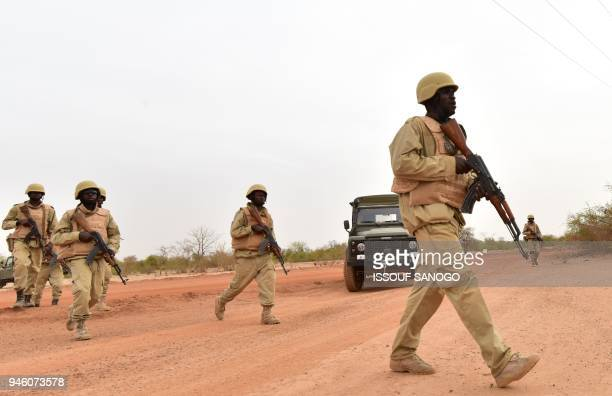 Soldiers from Burkina Faso take part in a training with Austrian army instructors at the Kamboinse - General Bila Zagre military camp near Ouagadougo...