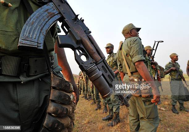 Soldiers from Congo Brazzaville part of the Multinaional Force of the Economic Community of Central African States arrive at the airport in Bangui on...