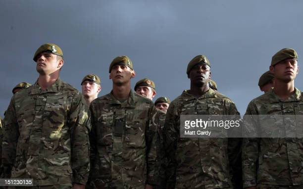 Soldiers from Corunna Company The 3rd Battalion The Yorkshire Regiment wait to be reunited with their families at Battlesbury Barracks in Warminster...