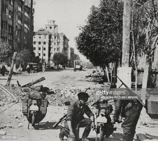 Soldiers from German motorised units along the streets of Voronezh, Russia, World War II, from L'Illustrazione Italiana, Year LXIX, No 32, August 9,...