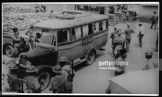 Soldiers from Jerusalem arrive by bus to Hebron to look after the area following a series of civil disturbances