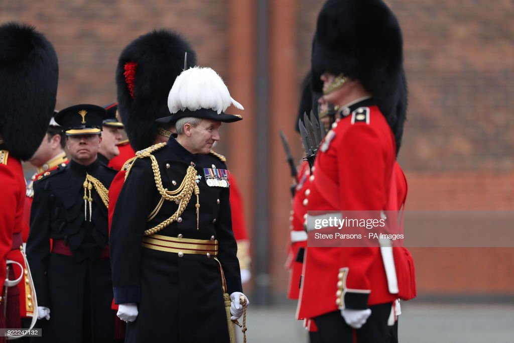 Soldiers from the 1st Battalion Coldstream Guards are inspected by Major General Ben Bathurst at Victoria Barracks in Windsor, Berkshire, in preparation for Trooping the Colour.