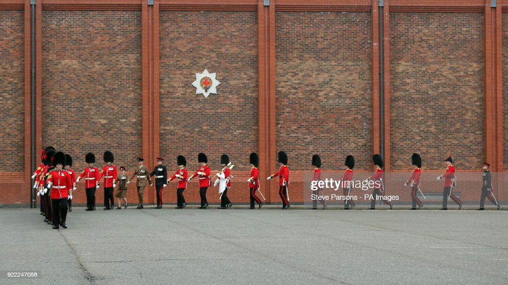 Soldiers from the 1st Battalion Coldstream Guards at Victoria Barracks in Windsor, Berkshire, as they prepare for Trooping the Colour.