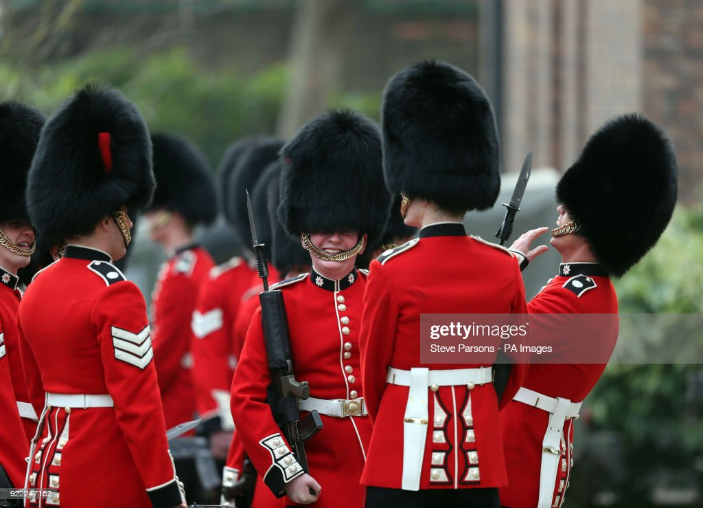 Soldiers from the 1st Battalion Coldstream Guards wait to be inspected by Major General Ben Bathurst at Victoria Barracks in Windsor, Berkshire, in preparation for Trooping the Colour.