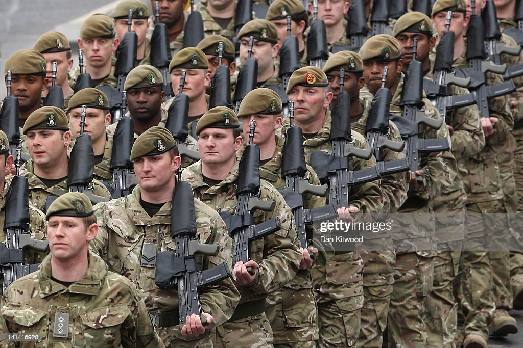 Soldiers From The 3rd Battalion, The Yorkshire Regiment March In A Farewell Parade : News Photo