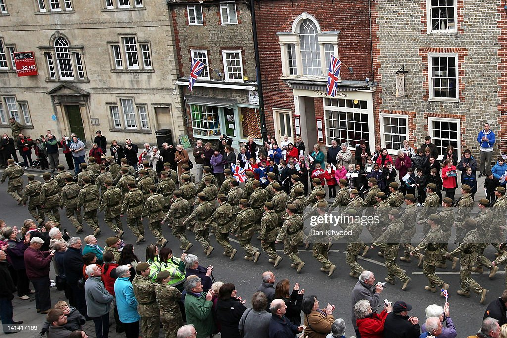 Soldiers from the 3rd Battalion the Yorkshire Regiment (3 YORKS) march during a pre-deployment parade on March 16, 2012 in Warminster, England. The parade will be the last of the units public appearance before being deployed to Afghanistan, and will finish with a church service where an act of remembrance to the six fallen soldiers from 3 Yorks, who were killed in Afghanistan last week will be held.