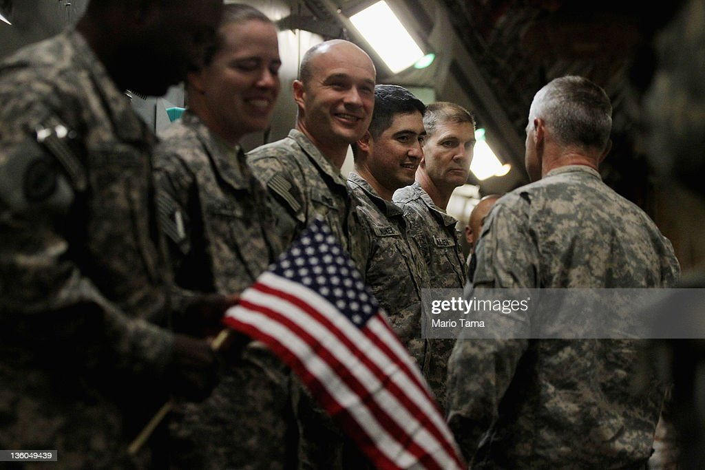 The Last U.S. Troop Brigade In Iraq Departs Country After Over Eight Years Of War : News Photo