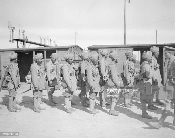 Soldiers from the 3rd Lahore Indian Division seen here at the railway station at Orleans France Circa October 1914 prior to them going up to the front