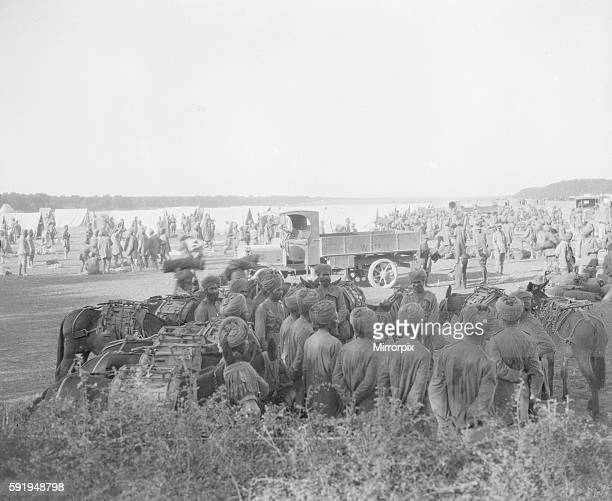 Soldiers from the 3rd Lahore Indian Division seen here pitching camp outside Orleans France Circa October 1914
