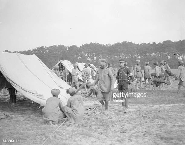 Soldiers from the 3rd Lahore Indian Division seen here pitching camp near Orleans France Circa October 1914
