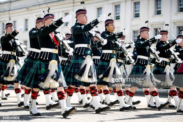 Soldiers from the Balaclava Company 5th Battalion The Royal Regiment of Scotland prepare for public duties in the capital on April 20 2018 in London...