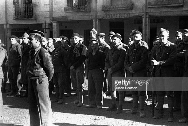 Soldiers from the British Battalion XV who fought with the International Brigade in support of the Republicans during the Spanish Civil War