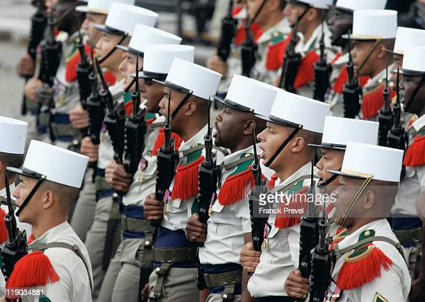 Soldiers from the Castelnaudary 4th Foreign Regiment march down the ChampsElysees during the annual Bastille day parade on July 14 2011 in Paris...