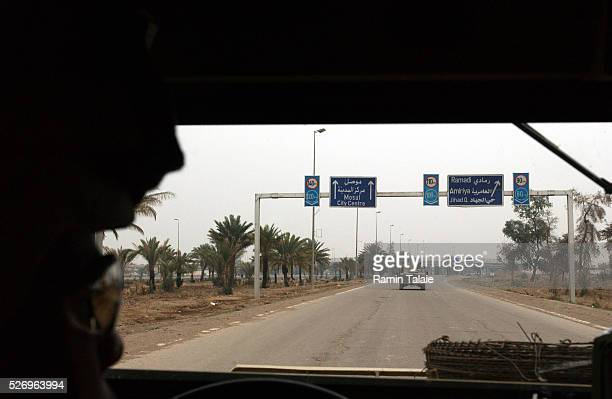 US soldiers from the Fighting 69 a New York National Guard unit patrol Route Irish the highway between Baghdad International Airport and central...