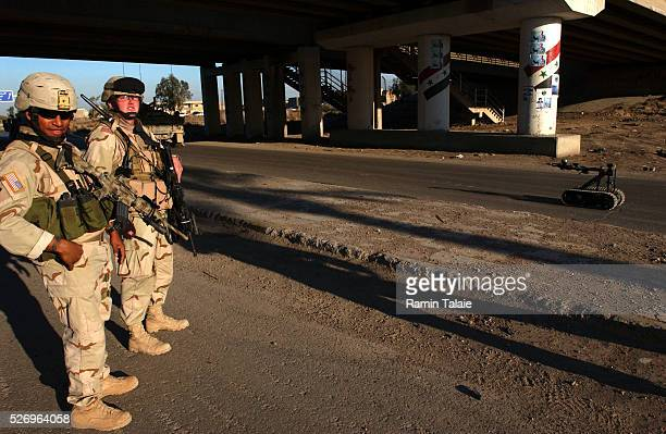 US soldiers from the Fighting 69th a New York National Guard unit shut down Route Irish the highway between Baghdad International Airport and central...