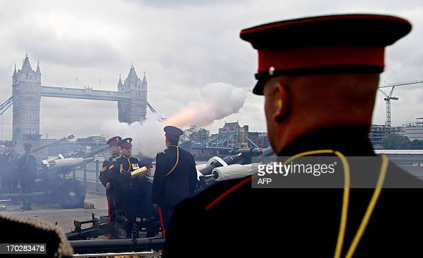 Soldiers from the Honourable Artillery Company fire a 62 round royal gun salute to celebrate the 92nd birthday of Britain's Prince Philip Queen...
