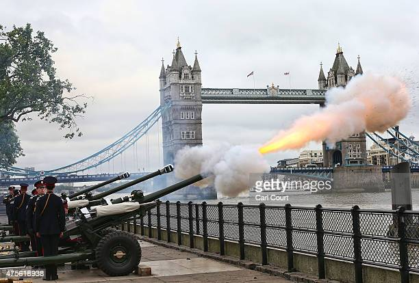 Soldiers from the Honourable Artillery Company perform a 62gun salute at the Tower of London to mark the 62nd anniversary of the coronation of Queen...