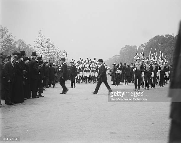 Soldiers from the Household Cavalry and another regiment marching in London England c1912
