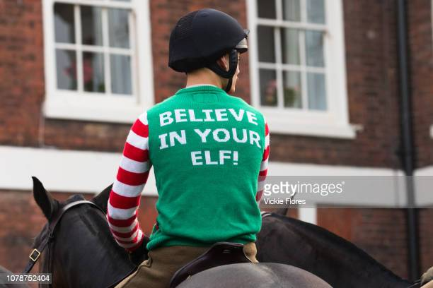 Soldiers from the King's Troop Royal Horse Artillery dressed up in Christmas jumpers and outfits seen out for a traditional Christmas Eve horse ride...