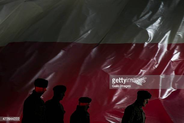 Soldiers from the Polish Army attend the 70th anniversary celebration of the end of the Second World War on May 8 2015 at Westerplatte in Gdansk...