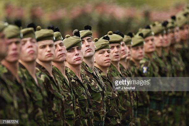 Soldiers from the The Royal Scots and The King's Own Scottish Borderers take part in a formal parade at Dreghorn barracks August 1Edinburgh in...