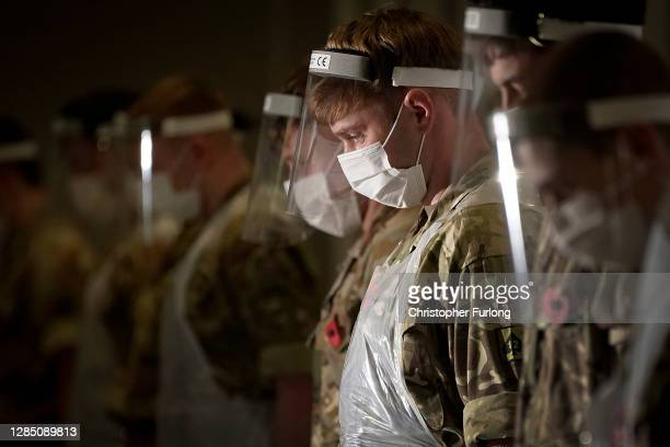 Soldiers from the Yorkshire Regiment observe a 2 minute silence to mark Remembrance Day at Liverpool Exhibition Centre, where the UK military are...