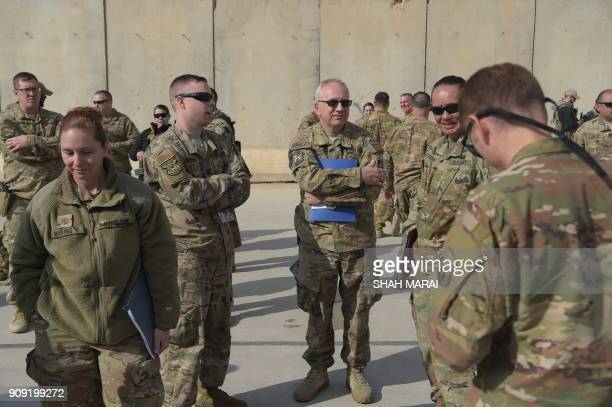 US soldiers gather at Kandahar Air base in Afghanistan on January 23 2018 A squadron of A10C 'Warthog' Thunderbolt IIs deployed to this sprawling...