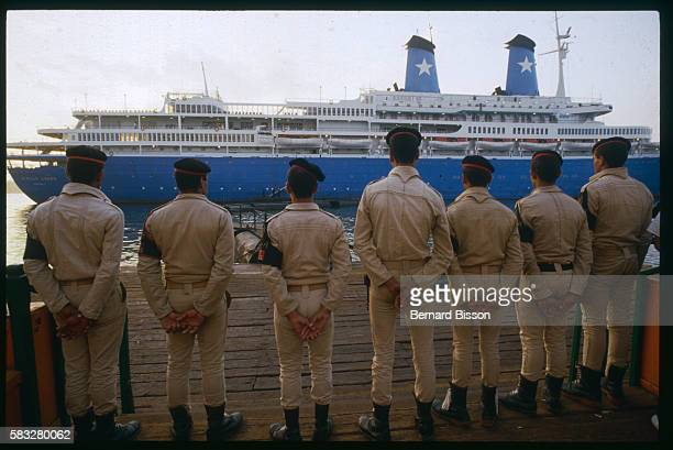 Soldiers guard the Achille Lauro liner hijacked by four Palestinian terrorists