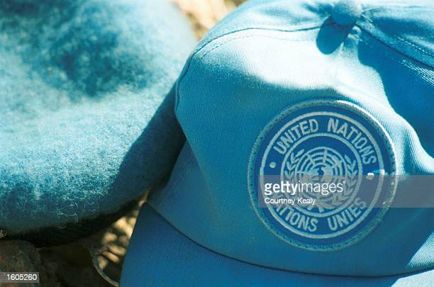 Soldier''s hat, from the Indian Battalian of the United Nations Peacekeeping Force of Lebanon, lays on the ground July 26, 2001. The soldiers oversee...
