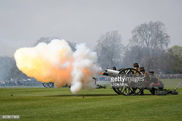 Soldiers horses and Guns of The King's Troop Royal Horse Artillery take part in a 41 Gun Royal Salute in Hyde Park central London on 21 April 2016 to...