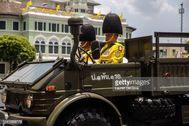 Soldiers in a parade caravan during the Royal Coronation of King Rama X on May 4 2019 in Bangkok Thailand Thailand held its first coronation for the...