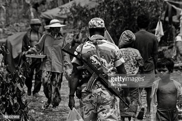 Soldiers in a refugee camp on the Thai Cambodian border near the Thai border post of Chong Jom After decades of conflict and genocide in Cambodia at...