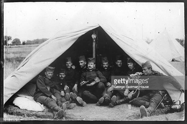 Soldiers in a tent, between 1900 and 1919.
