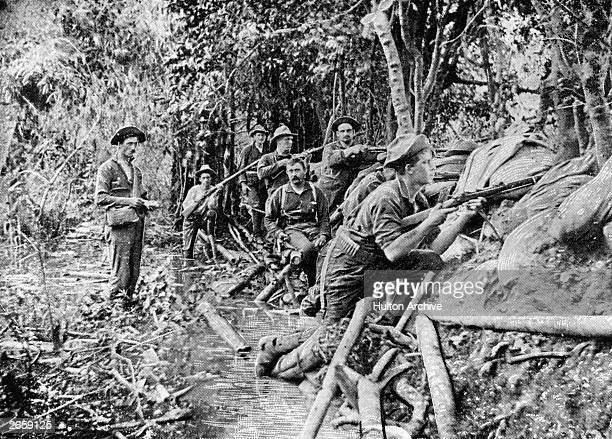 Soldiers in a trench near Manila during the Spanish-American War.
